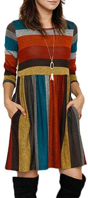 Elapsy Womens Casual Long Sleeve Stripe Tunic T Shirt Dress Pockets orange
