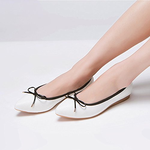 Elegant Work Shoes Roll Up Shoes Ballet Shoes Can Foldable Bowknot Pregnant Women Flat Shoes ( C ...