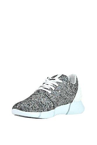 Elena Iachi Women's MCGLCAK03101E Silver/White Fabric Sneakers