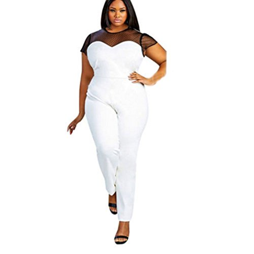 Elevin Women Hollow out Bodycon Sexy Clubwear Romper Jumpsuit Pants Plus Size