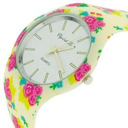 ELizabeth Rose Cream Pink & Green Floral Retro Design Ladies Casual Watch