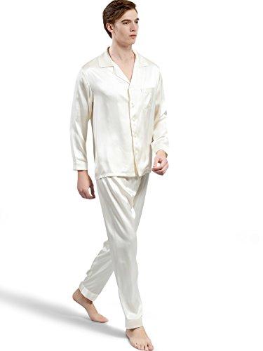ElleSilk Men's Silk Pajama Set, Pure Mulberry Silk Sleepwear, Machine Washable