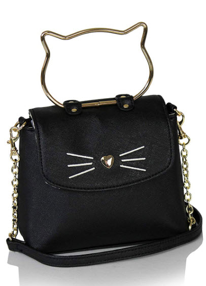 Ellie's Tribe Chic Kitty Crossbody Bag- Vegan Leather Small Top Handle Purse Cute Hipster Cat De ...