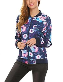 Elover Womens Classic Full Zip Up Floral Bomber Jacket Warm Coat