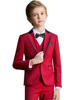 ELPA ELPA Boys Slim Fit Formal Suit Set 6 Piece Single Breasted Peaked