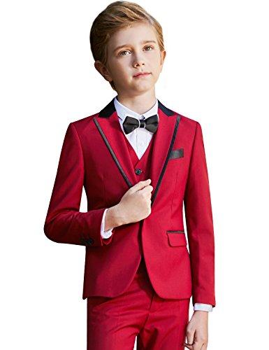 ELPA ELPA Boys Slim Fit Formal Suit Set 6 Piece Single Breasted Peaked