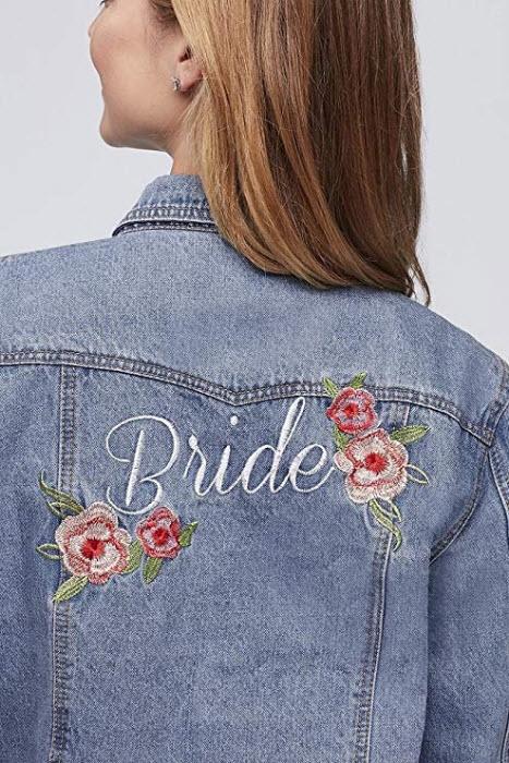 Embroidered Bride Denim Jacket Style J10002, blue