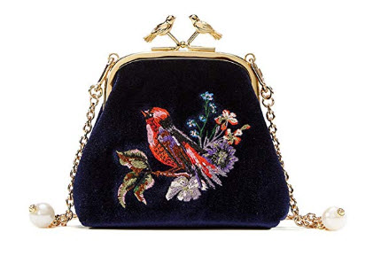 EMINI HOUSE Vintage Embroidery Influencer Shoulder Bag with Bird Hardware Kiss lock Closure Wome ...