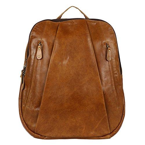 Enew Vintage Leather Laptop Rucksack with Large Pockets, Leather Backpack