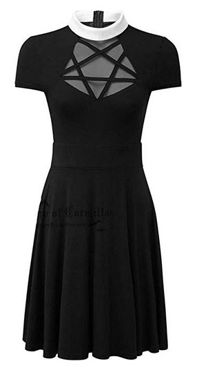 Enfei Halloween Womens Pentagram Mesh Dress Gothic Vintage Romantic Casual Short Sleeve Dress fo ...
