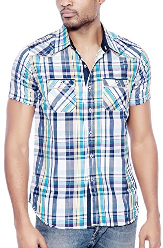 Enimay Men's Designer Short Sleeve Casual Fitted Button Down Plaid Shirts