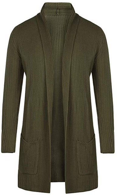 Enjoybuy Mens Shawl Collar Open Front Cable Knit Long Cardigan Sweaters Coats with Pockets army  ...