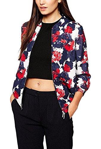 Enlishop Women's Oversize Floral Print Chiffon Slim Blazer Bomber Jacket Coat