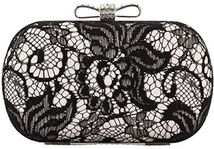 EPLAZA Women Lace Evening Clutch Bags Party Handbags Vintage Bridal Wedding Purse silver