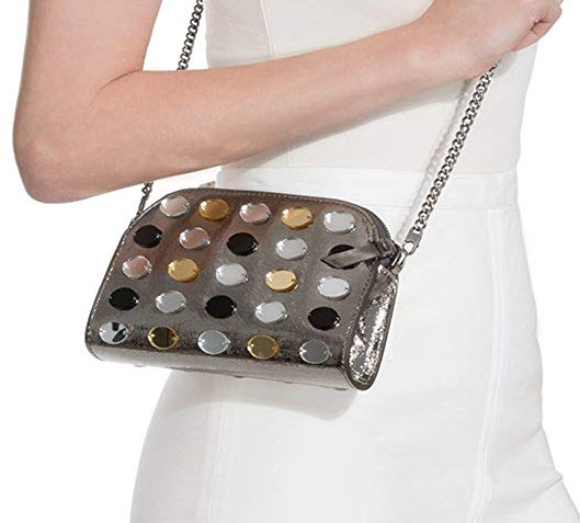 Eric Javits Luxury Fashion Designer Women's Handbag – Eddie – Silver Mix