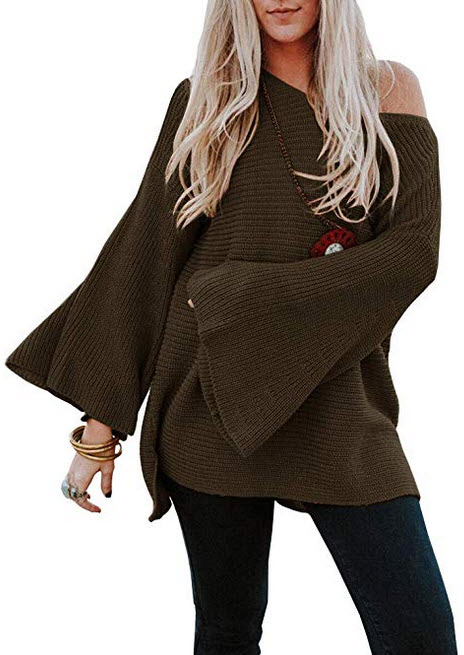 Ermonn Womens Oversized Sweaters Bell Sleeve Solid Cable Knit Pullover Sweater Jumper army green