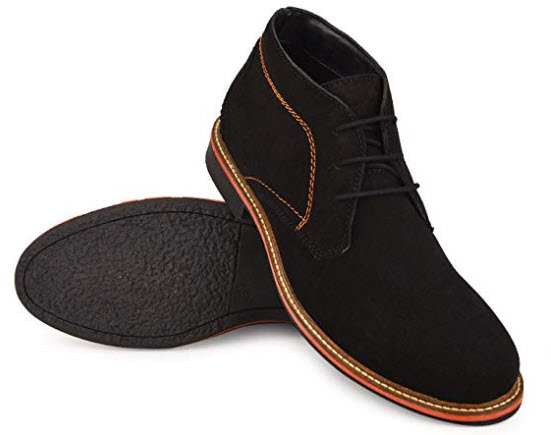 Escaro New York Suede Leather Casual Chukka Boots with Comfortable Fleece Lining black