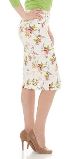 Esteez Women's Denim Pencil Skirt- Stretch Jean Knee Length – Brooklyn, white floral