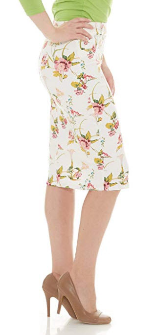 Esteez Women's Denim Pencil Skirt- Stretch Jean Knee Length – Brooklyn, white floral