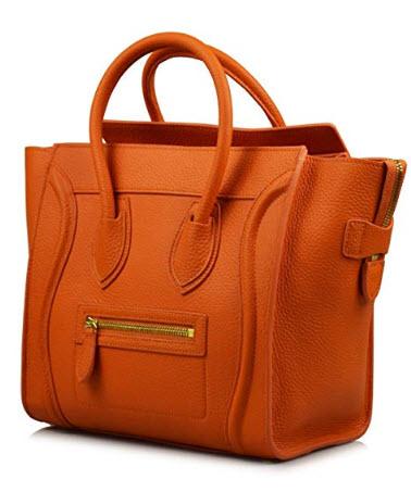 Esyuel Women's Genuine Leather Smile Bag Top Handle Handbag Purse
