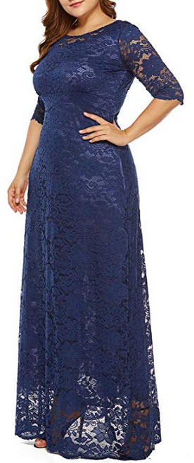Eternatastic Womens Floral Lace 2/3 Sleeves Maxi Dress Plus Size Evening Party Dress blue