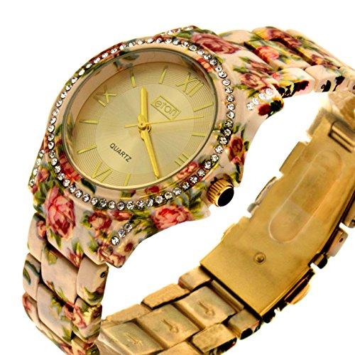 Eton Ladies Sunray Dial Crystal Bezel Cream Floral Bracelet Strap Watch 3250L