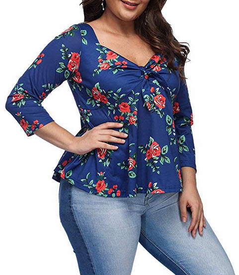 EverChic Women's Summer Plus Size Deep V Neck Pleated Half Sleeve Ruched Promenade Top blue a