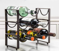 exilot 3-Tier Stackable Wine Rack, Classic Style Wine Racks Holder Storage Stand for Bottles  ...