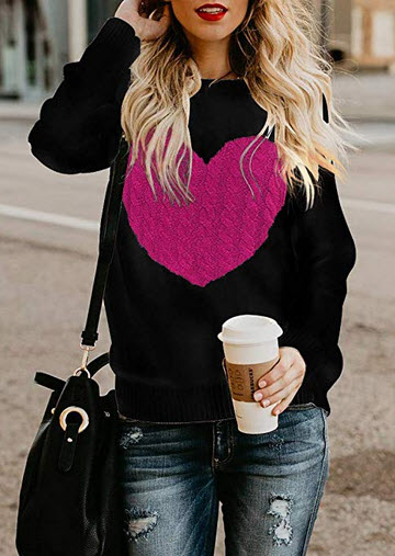 Exlura Women's Casual Sweater Heart Pattern Patchwork Pullover Long Sleeve Crew Neck Knits ...