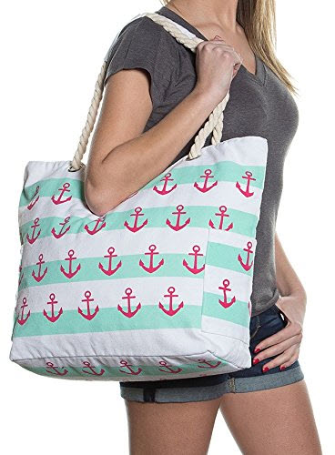 Pier 17 Extra Large Beach Bag – Water Resistant Zipper Top Beach Tote Bag for Women Mint White