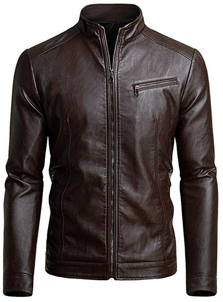 Fairylinks Mens Casual Motorcycle Faux Leather Jacket chocolate