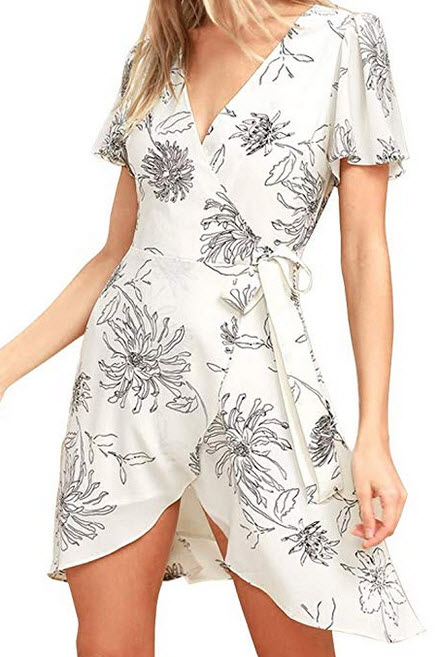 FANCYINN Women Cross V-Neck Floral Print Split Warp Mini Dress beige