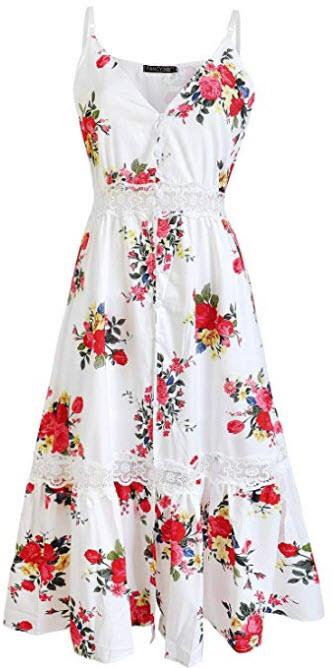 FANCYINN Women Floral Print Button Down Lace Patchwork Split Maxi Dress