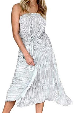 FANCYINN Womens Strapless Striped Printed Side Split Long Dresses, white