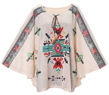 Fancyluna Womens Bohemian Batwing Sleeve Printed Tunic Tops Bohemian Blouse Cover up Poncho geometry