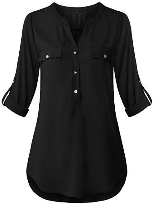 FANSIC Women V Neck 3/4 Roll Sleeve High Low Hem Top Button Down Chiffon Blouse black