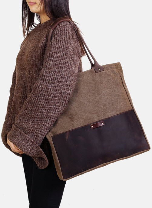 Fantasylinen Handcrafted Canvas and Leather Casual Tote Bag Shopper Bag Handbag in coffee