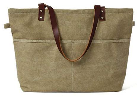 Fantasylinen Handmade Khaki Canvas Tote Bag Messenger Bag Shoulder Bag School Bag Handbag