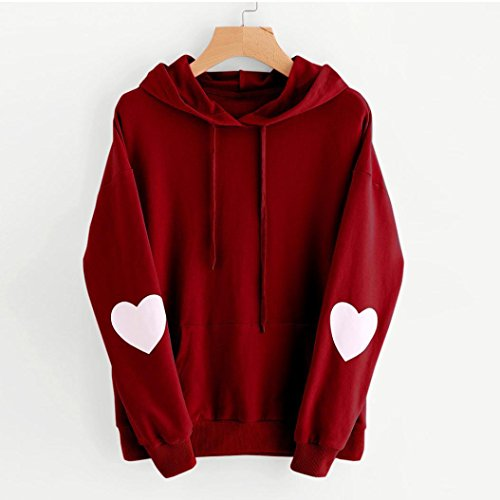 FANXING Women Hoodie, Love Heart Long Sleeve Sweatshirt Jumper Hooded Pullover Blouse Plus Size