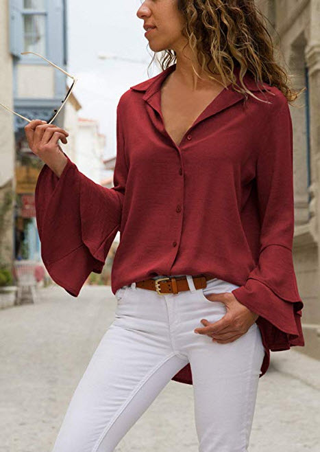 FARYSAYS Women's Bell Sleeve V Neck Button Down T-Shirts Casual Blouses Tops red