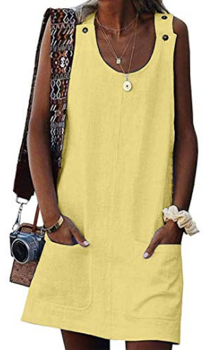 FARYSAYS Women's Summer Crew Neck Button Sleeveless Casual Mini Dress with Pockets, solid  ...