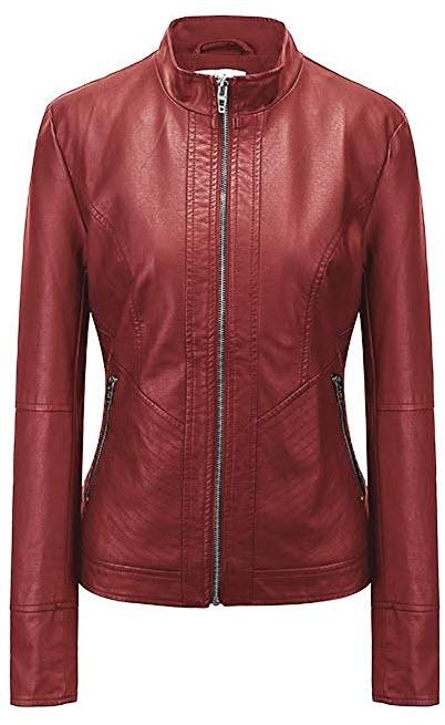 Fasbric Women's Faux Leather Wind & Water Proof Biker Jacket Coat Zipper  wine