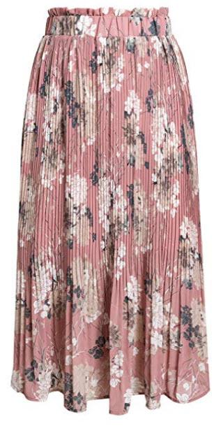 Fashiomo Women's High Waist Chiffon Floral Ruffle Pleated Midi Skirt, pink print