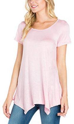 Fashion California Womens Irregular Hem Round Neck Short Sleeve Loose Fit Jersey Tunic Top, soli ...
