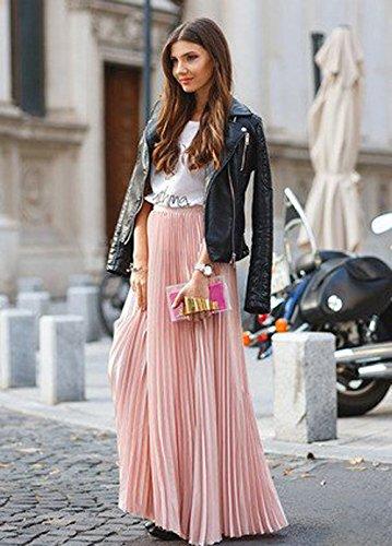 FASHION DRESS Womens Elastic Waist Pleated Beach Maxi Skirt