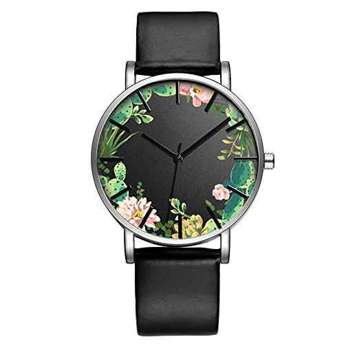 Fashion Luxury Butterfly Cactus Flowers Floral Print Leather Strap Men Women Girl Wristwatch, Gr ...