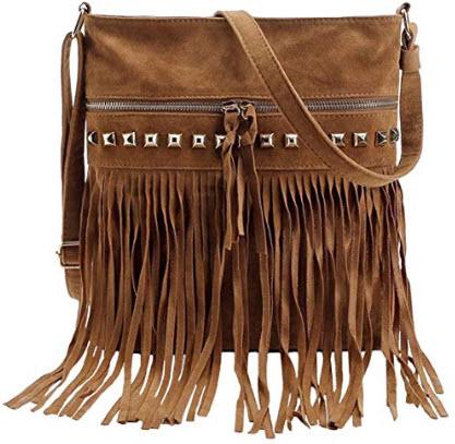 Fashion Rivet Tassel Women Shoulder/Crossbody Messenger Bag blazing autumn
