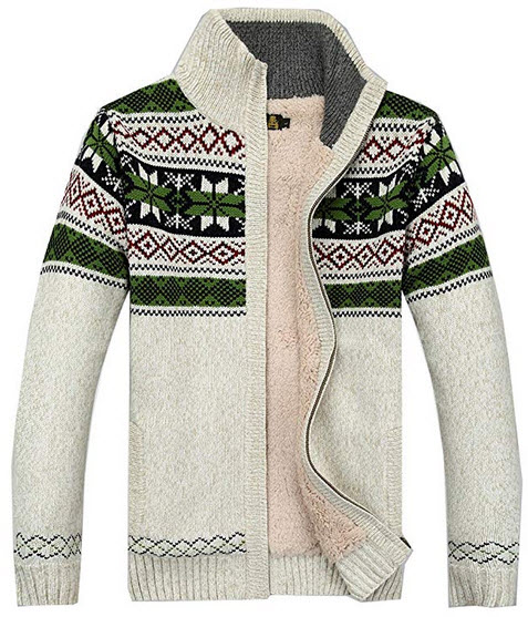 Kedera 2018 Fashion Winter Cotton Knitted Cardigan Men's Casual Thick Warm Sweater white