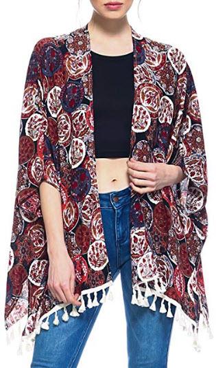 Fashionazzle Women's Summer Beach Wear Cover Up Swimwear Beachwear Kimono Cardigan, mt black