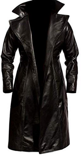 Fashionistz Mens Leather Trench Coat Slim Fit | Long Leather Trench Coat Men – Genuine Lea ...
